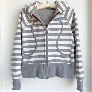Lululemon striped grey and white Scuba Hoodie